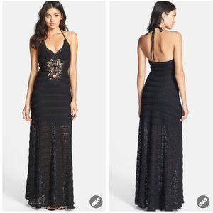 Sky 'kosa' crochet lace halter maxi dress #503